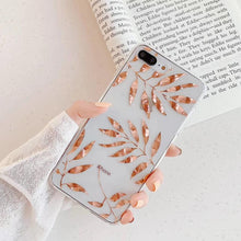 Load image into Gallery viewer, Luxury Glitter Gold Leaf Transparent Case For iPhone 12 Mini 8 7 Plus X XS Max XR 11 Pro Max Clear Soft Back Cover For iPhone