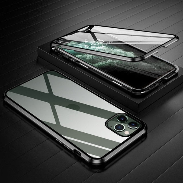 360 Metal Frame Double Sided Glass Magnetic Case for iPhone 12 Pro Max XR XS MAX 11 8 7 6 6s Plus Full Protection Tempered Glass Phone Cover for iPhone