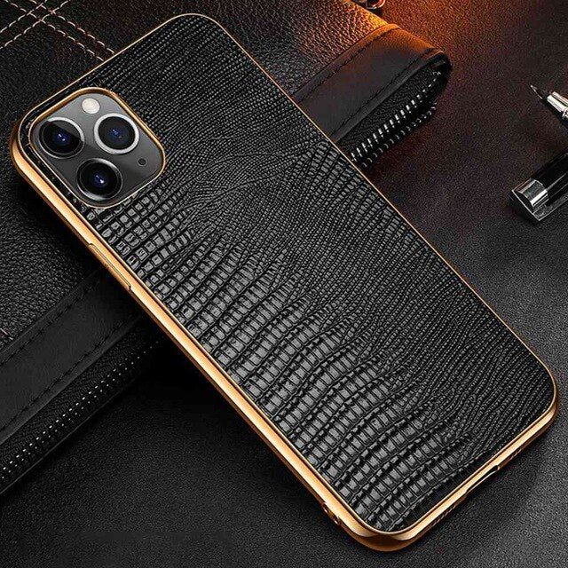 Snakeskin Design Luxury Leather Case For iPhone 11 12 Pro MAX 12 Mini 11 Pro 12 Pro X XR XS Max Case Premium Plating Soft Edge Back Cover For iPhone 12 Pro