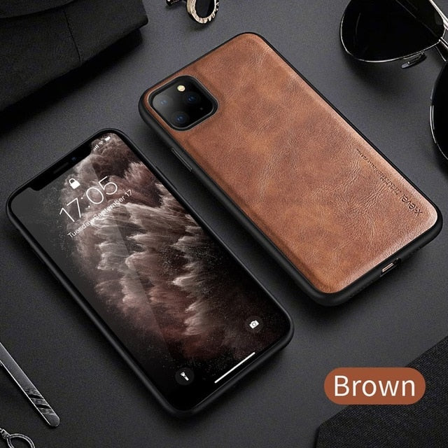 Vintage Leather Style Leather Fitted Cover For iPhone 11 Pro X Xr Xs 6 6S 7 8 Plus SE2 Men Luxury Shockproof Protective Bumper Phone Cover For iPhone