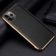 Load image into Gallery viewer, Genuine Leather Luxury Case For iPhone 12 Mini 11 Pro Max 11 Pro 12 Pro 12 Mini X XR XS Max Case Grained Hide Cover Plated Bumper Soft Edge Case For iPhone