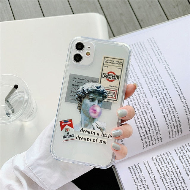 Renaissance Michelangelo Arty David Phone Case For iPhone 11 12 Mini Pro XS Max XR X 7 8 Plus Fitted Case Transparent Soft Silicone TPU Cases Retro Cover