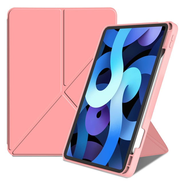 Folding Standing Case for iPad Air 4 10.9 inch 2020 & iPad Pro 11 Multi-Angle Protective Cover For iPad Soft TPU Pink Black Blue Gray Back Cover with Pencil Holder