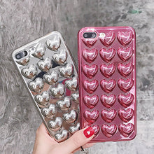 Load image into Gallery viewer, Shiny Glossy Curvy Cute Love Hearts Case For iPhone 7 6 6S Plus 6 Soft TPU Metallic Plating Phone Cover Back For iPhone X XS max XR 7 Plus Cases