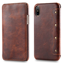 Load image into Gallery viewer, Real Leather Retro Wallet Case For Apple iPhone X Max Flip Cover Card Holder Wallet Case For iPhone XS XS iPhone XR Leather Case