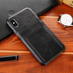 Luxury Leather Card Holder Phone Case for iPhone X XS Max XR XS 9 8 7 6 Plus Case Leather Back Cover Card Wallet Case for iPhone X Case