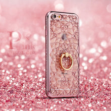 Load image into Gallery viewer, Luxury Crystal Gold Rhinestone Case For iPhone X Xs Max XR Case 3D Silicon Case With Finger Ring Stand For iPhone 5 5S SE 6 S 7 8 Plus