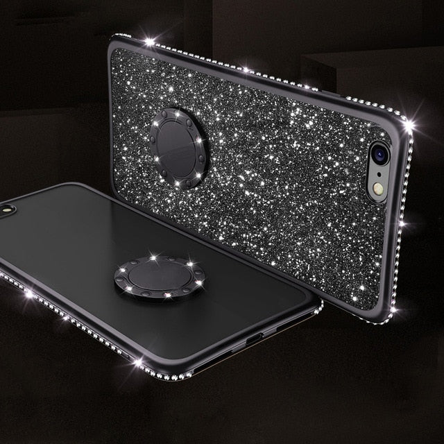 Glitter Diamond Rhinestone Kickstand Case For iPhone XS Max Xr 8 7 6S 6 Plus Cover with Magnetic Finger Ring