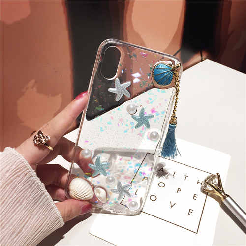 Cute Pearls & Shells Clear Case For iPhone X XS Max XR Case 3D Beach Themes Conch Shell Tassels Soft Silicon Clear Case For iPhone 6 6S 7 8 Plus