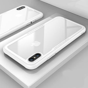 Luxury Toughened Glass Phone Case For iPhone X XR 8 7 7 Plus 6 S 0.7mm Tempered Glass Back Cover With Air Bag Bumper Case For iPhone XS Max Cases
