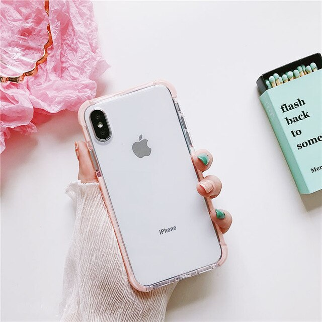 Luxury Elegant Armor Case For iPhone 6S Case 6 7 8 Plus XS Max XR Silicone Bumper Transparent Phone Case For iPhone X Case