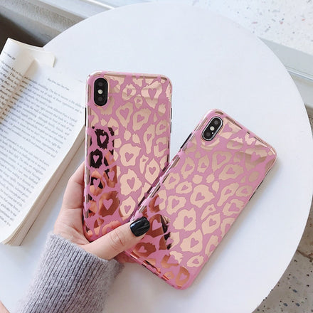 Luxury Glossy Pink And Gold Leopard Print Phone Cases For iPhone XR XS Max Case For iPhone X 8 7 6S 6 plus Back Cover Fashion Glossy Soft Case