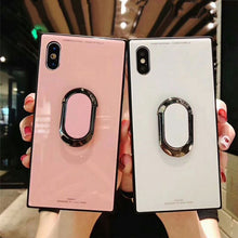 Load image into Gallery viewer, Luxury Square Hybrid Shockproof iPhone Case Anti-knock Tempered Glass Back Cover For iPhone X 8 7 6 6S Plus Phone Cases