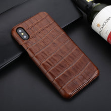 Load image into Gallery viewer, Crocodile Skin Design Genuine Leather Back Cover Case for iPhone X XS Max XR 6 6S 7 8 Plus Crocodile Grain Handmade Real Leather iPhone Case