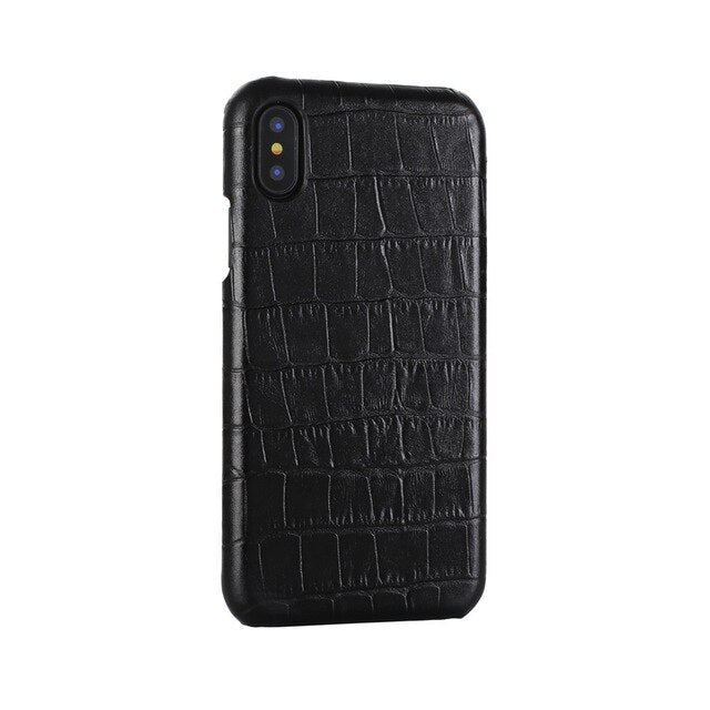 Crocodile Skin Design Genuine Leather Back Cover Case for iPhone X XS Max XR 6 6S 7 8 Plus Crocodile Grain Handmade Real Leather iPhone Case