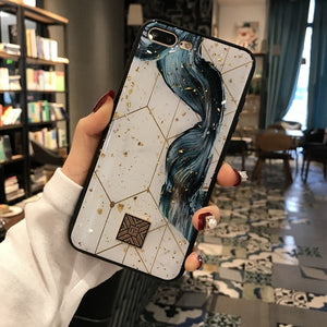 Glossy Gold Marble Bling Phone Case For iPhone X XS Max XR Soft Silicon TPU Glitter Foil Geometric Protective Cover For iPhone 7 8 6 6s Plus