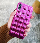 Shiny Glossy Curvy Cute Love Hearts Case For iPhone 7 6 6S Plus 6 Soft TPU Metallic Plating Phone Cover Back For iPhone X XS max XR 7 Plus Cases