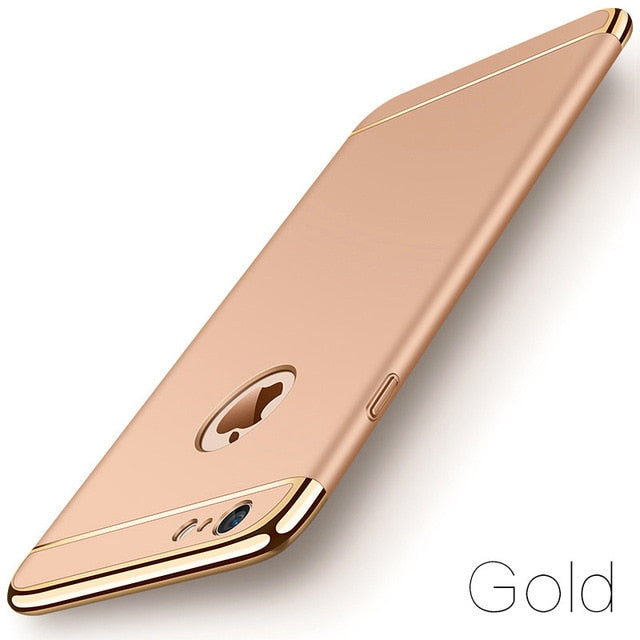 Luxury Slim Gold Matte Hard Case for iPhone Xs Max XR 11 Pro 7 6 6s 5 5s SE X Back Cover Removable 3-in-1 Case for iPhone 8 7 6 6s