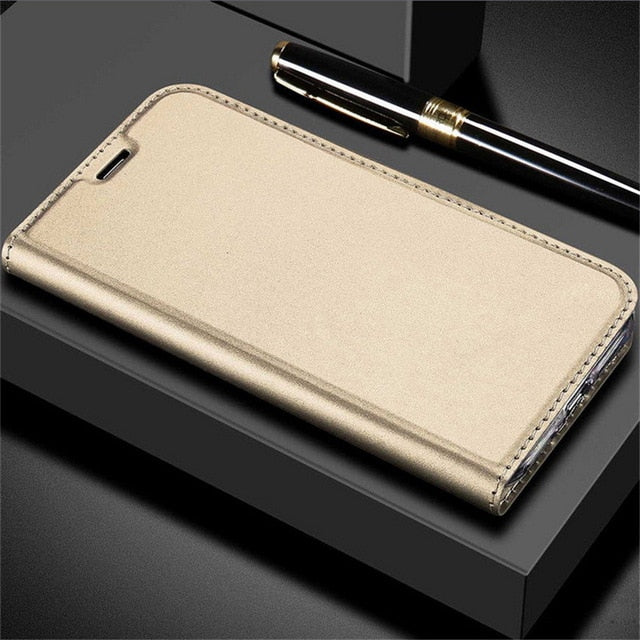 Ultra Thin Smooth Leather Soft Flip Case For iPhone X 8 6 6S S 7 Plus 5 5S SE Versatile and Stylish Magnetic Flip Case With Card Holders and Kickstand.