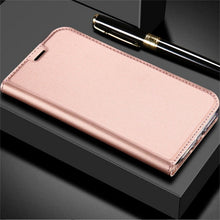 Load image into Gallery viewer, Ultra Thin Smooth Leather Soft Flip Case For iPhone X 8 6 6S S 7 Plus 5 5S SE Versatile and Stylish Magnetic Flip Case With Card Holders and Kickstand.