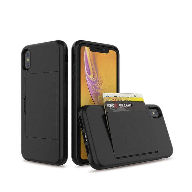Multiple Color Flip Card Slot Armor Case For iPhone X XS 7 8 Plus XS MAX 6 Full Protection Cover Business Case for iPhone XR 7 7+ 6 6S X 10