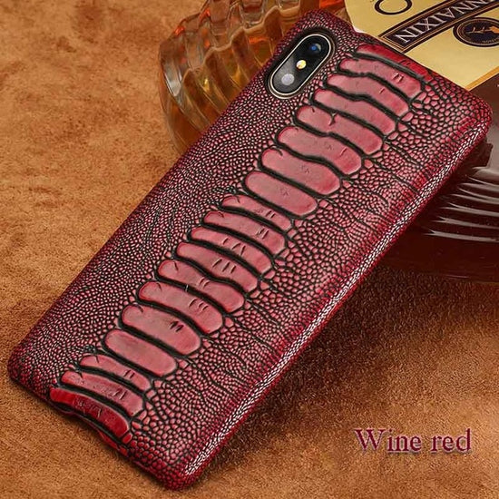 Exotic Ostrich Leather Designer Vintage Natural Leather Mobile Phone Case For iPhone X XR XS Max 8 Plus 8 7 7 Plus 6 6s 6s Plus Luxury Textured Case