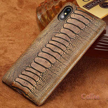 Load image into Gallery viewer, Exotic Ostrich Leather Designer Vintage Natural Leather Mobile Phone Case For iPhone X XR XS Max 8 Plus 8 7 7 Plus 6 6s 6s Plus Luxury Textured Case