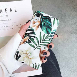 Exotic Tropical Island Floral Phone Case For iPhone XS Max XR 6 6S 7 8 Plus X Retro Style Monstera Leaf Flowers Soft Phone Back Fitted Case