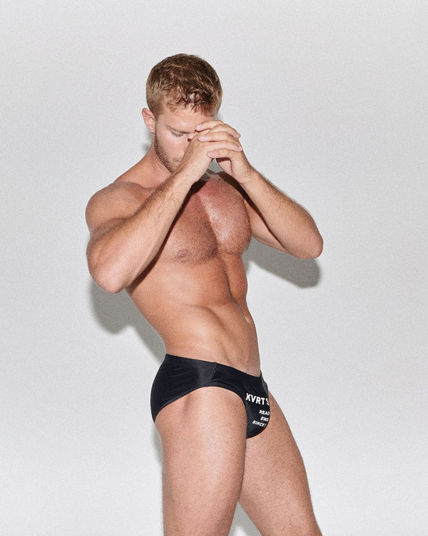 BLACK KVRT SWIM BRIEF
