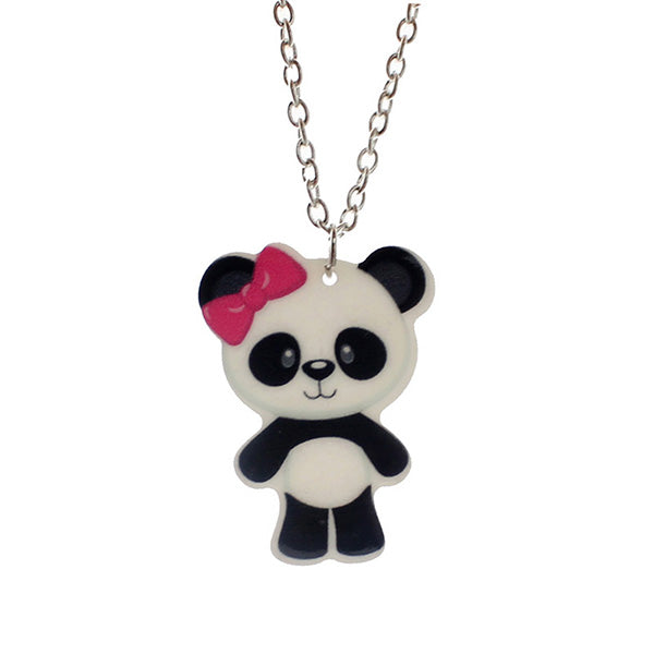 Panda Necklace with Pink Bow