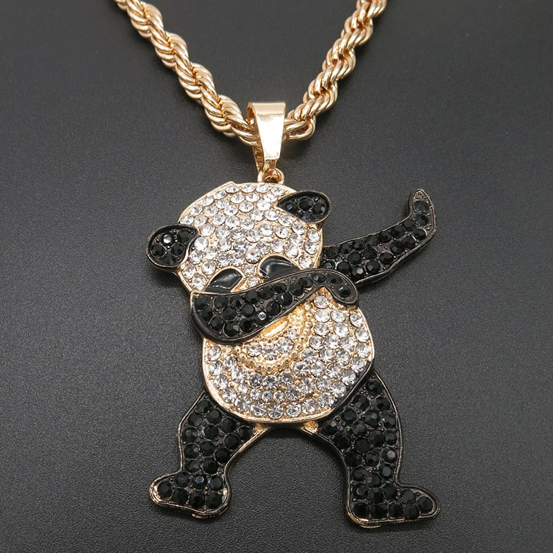 Gold Plated and Rhinestone Dancing Panda Necklace