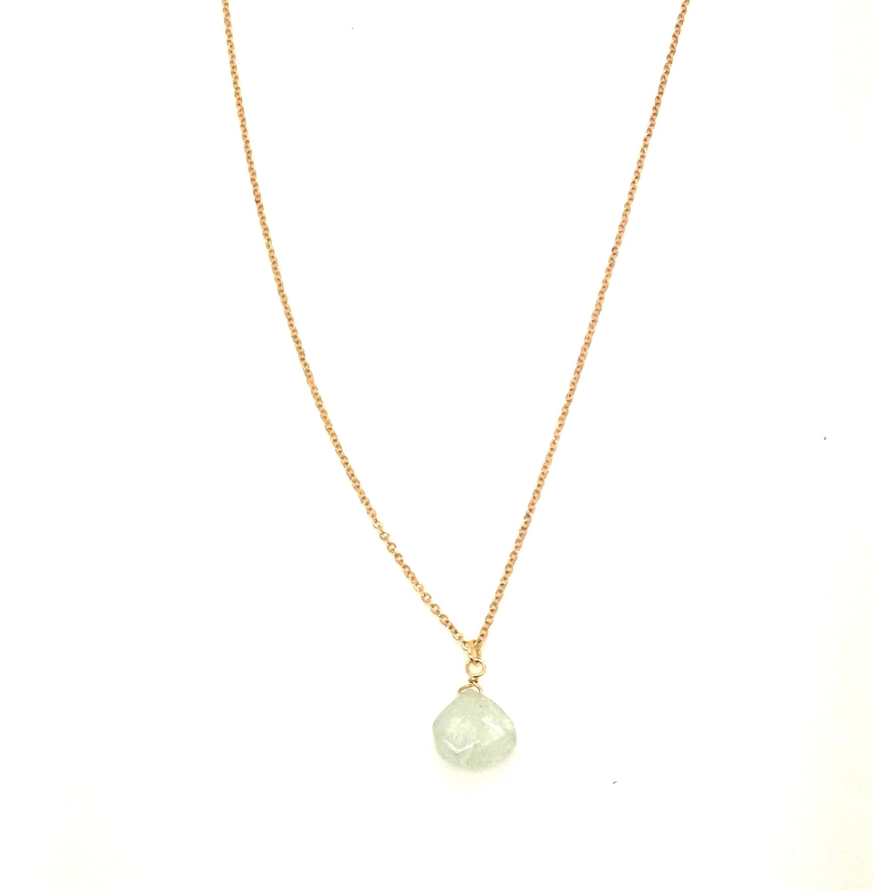 Long Gold Aquamarine Necklace