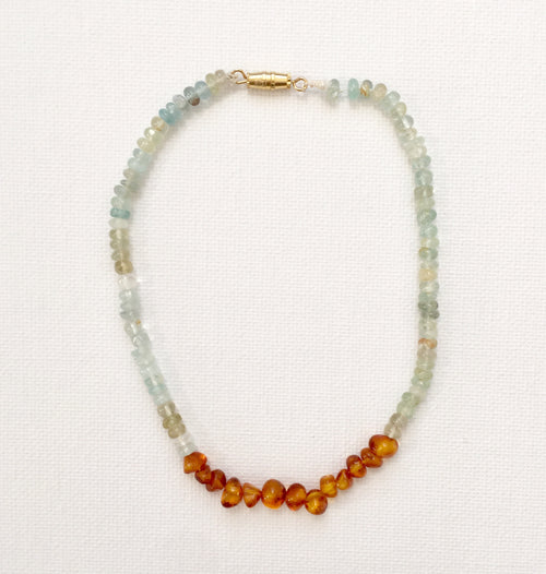 Amber and Aquamarine Kids Necklace