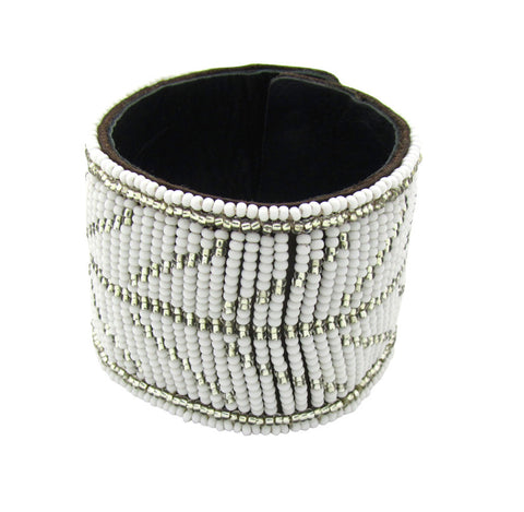 Basecamp Maasai Brand White and Silver Beaded Leather Cuff