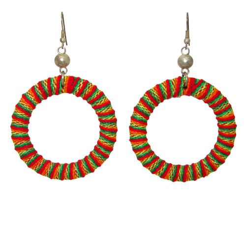 Orange Inca Woven Hoops