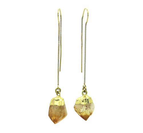 Gold Citrine Thread Earrings
