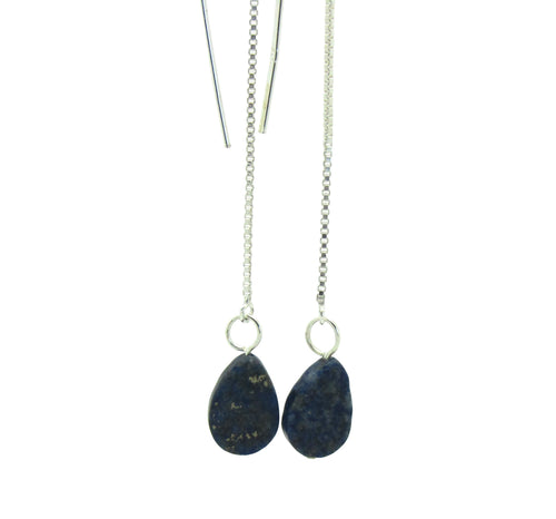Silver Lapis Lazuli Thread Earrings