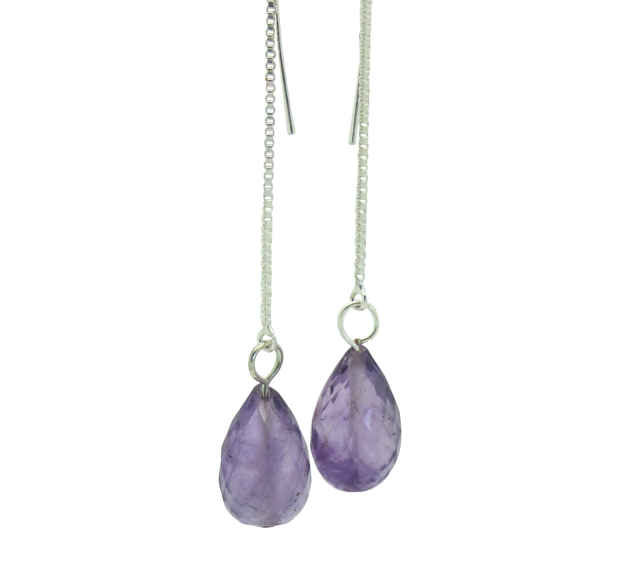 Silver Amethyst Thread Earrings