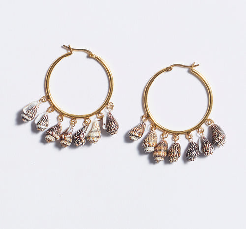 Multi Shell Hoop Earrings