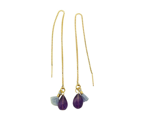 Amethyst Tassel Thread Earrings