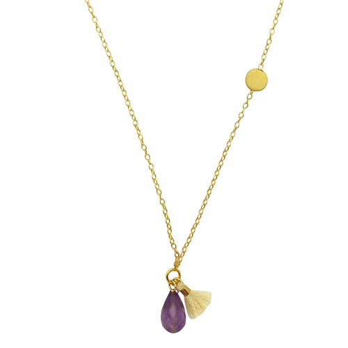 Amethyst Circle Gold Necklace
