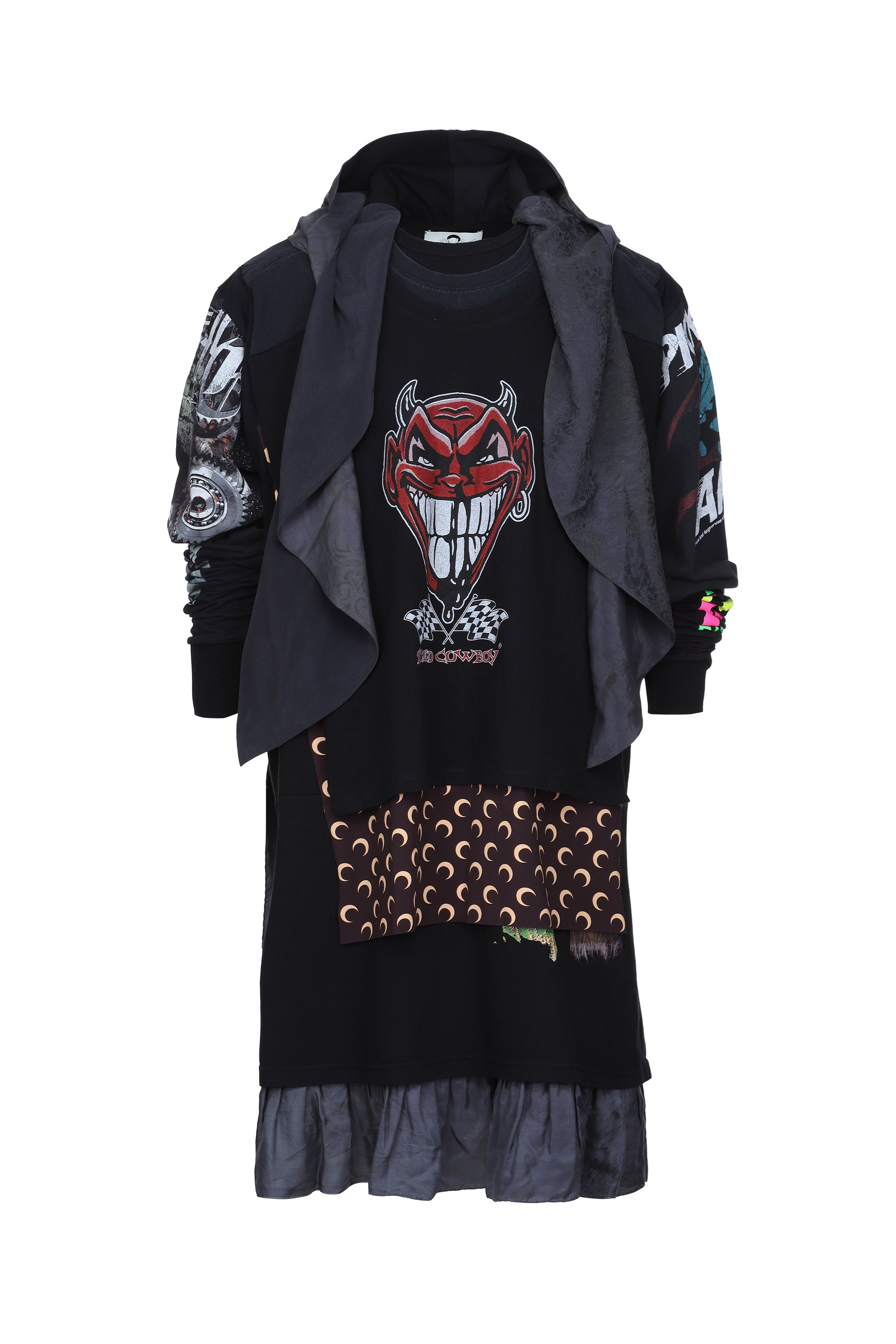 Graphic Layers Hooded Dress
