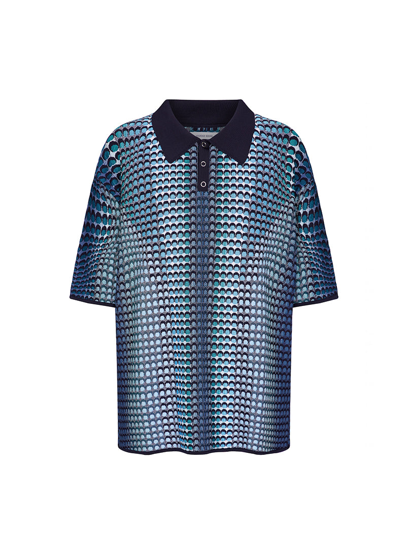 Moon Fish Skin Jacquard Knit Polo Shirt