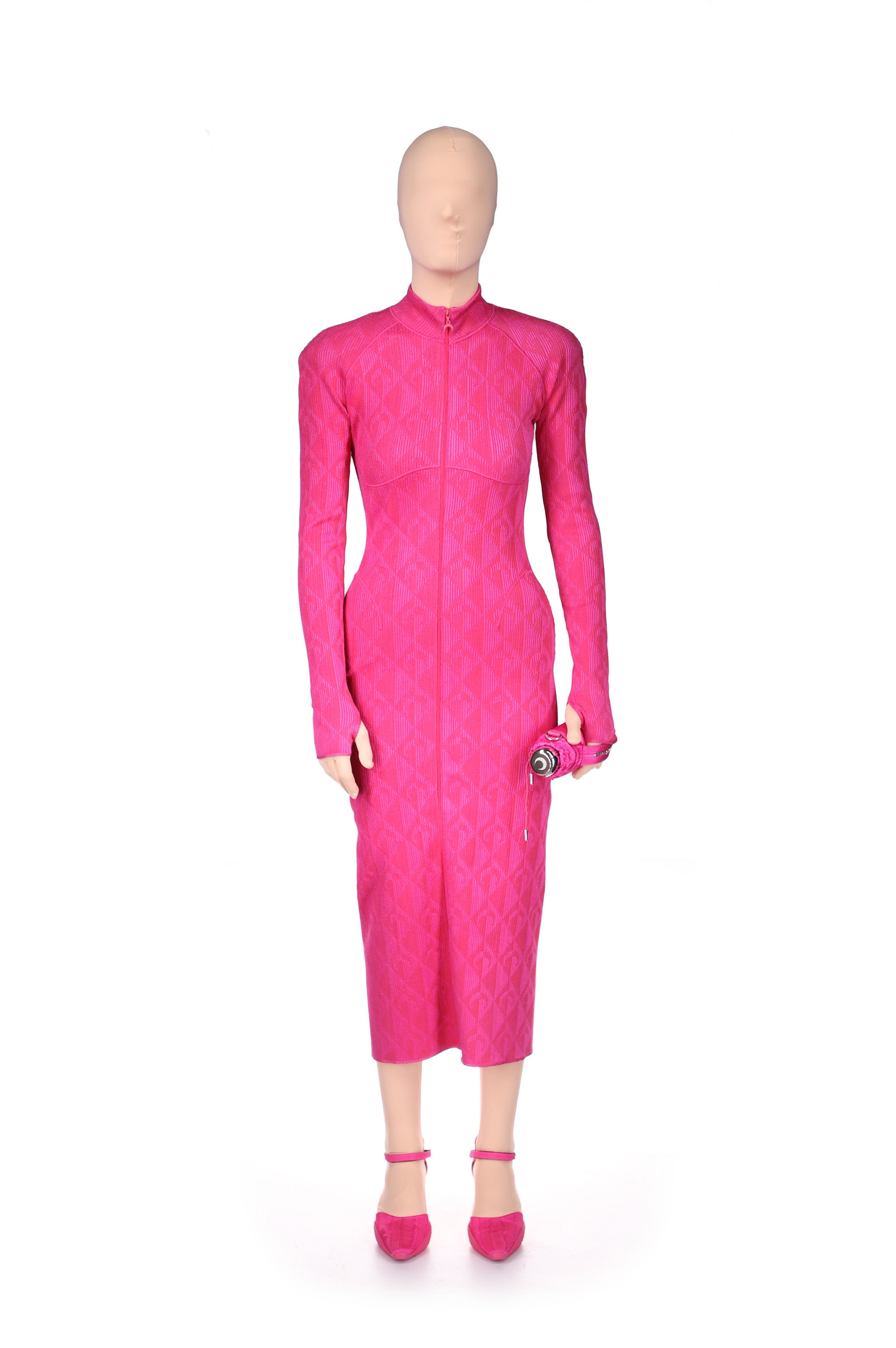 Optical Knit Jacquard Long Tube Dress