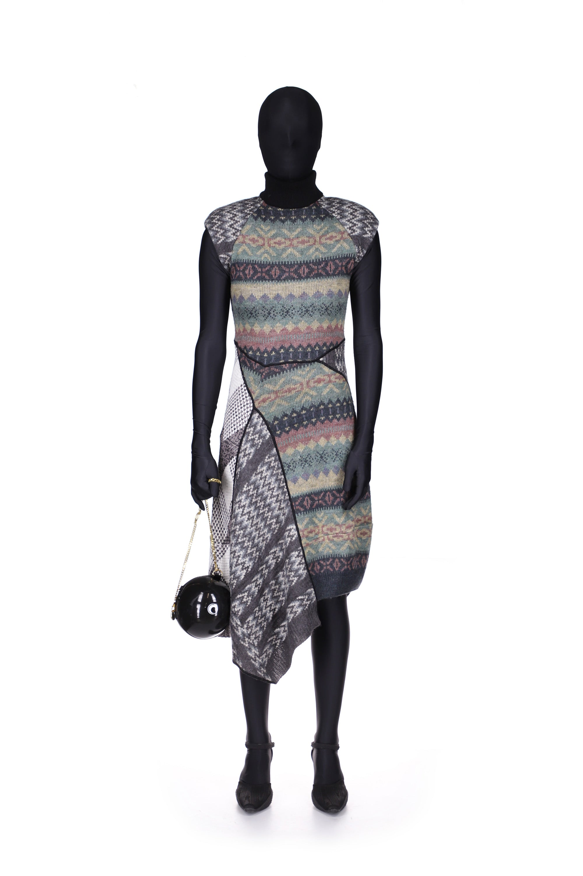 Regenerated Knit Melange Asymmetric Dress