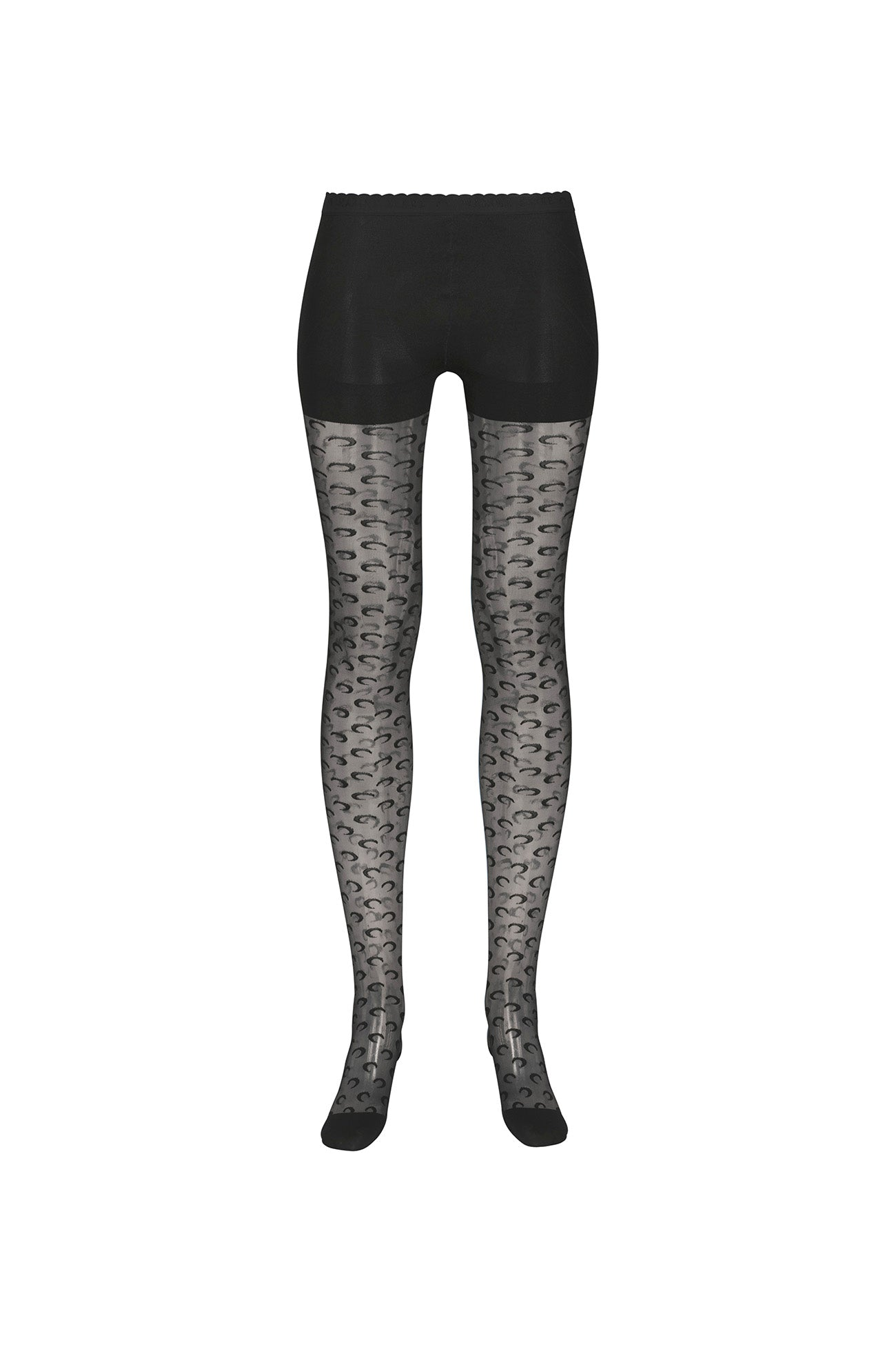 Sheer Moon Jacquard Tights Black