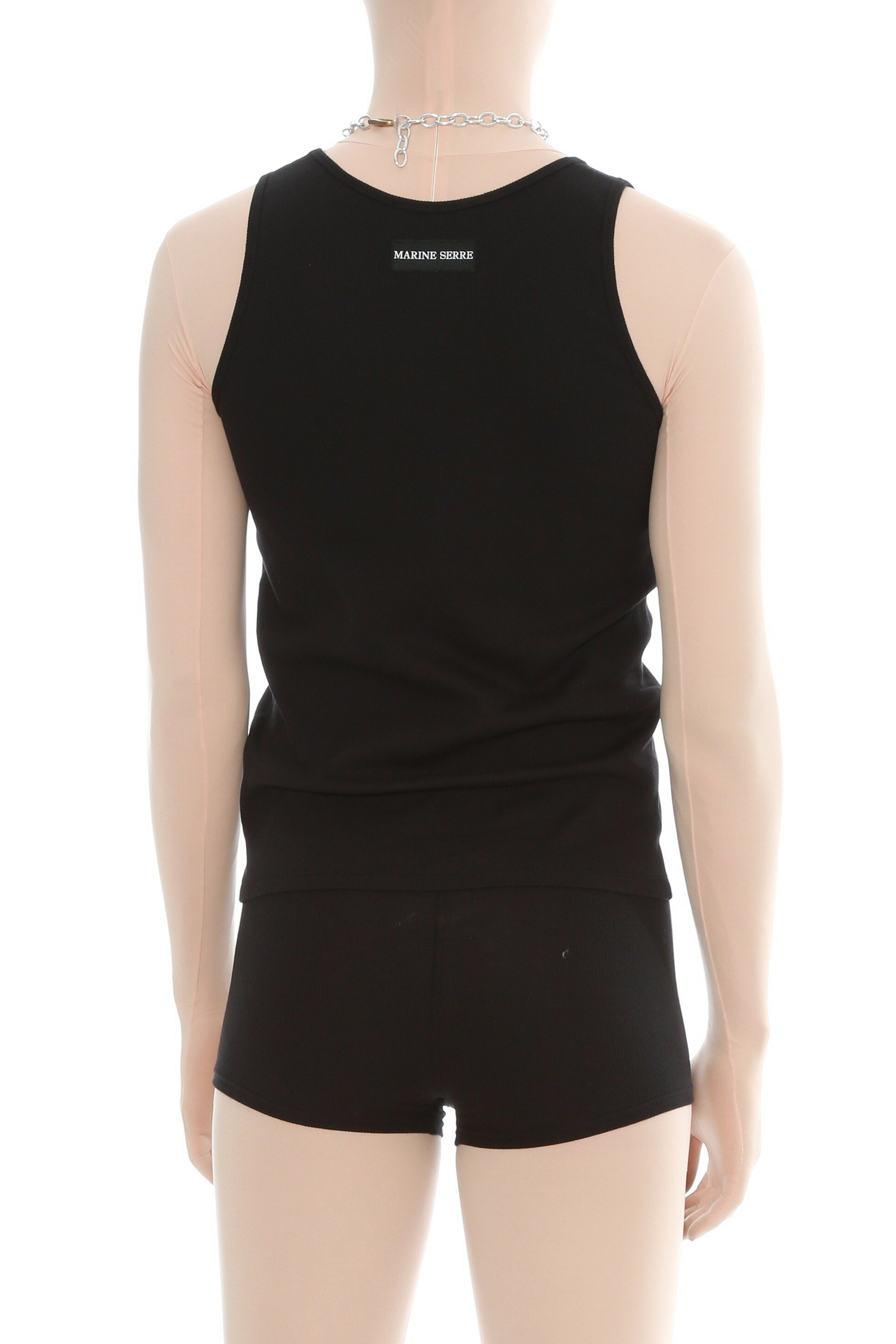 Black Ribbed Cotton Branded Tank Top