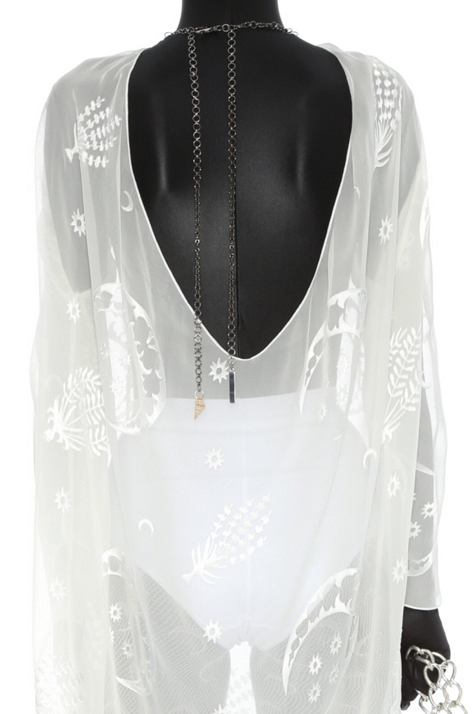 Open-back Djellaba Dress White