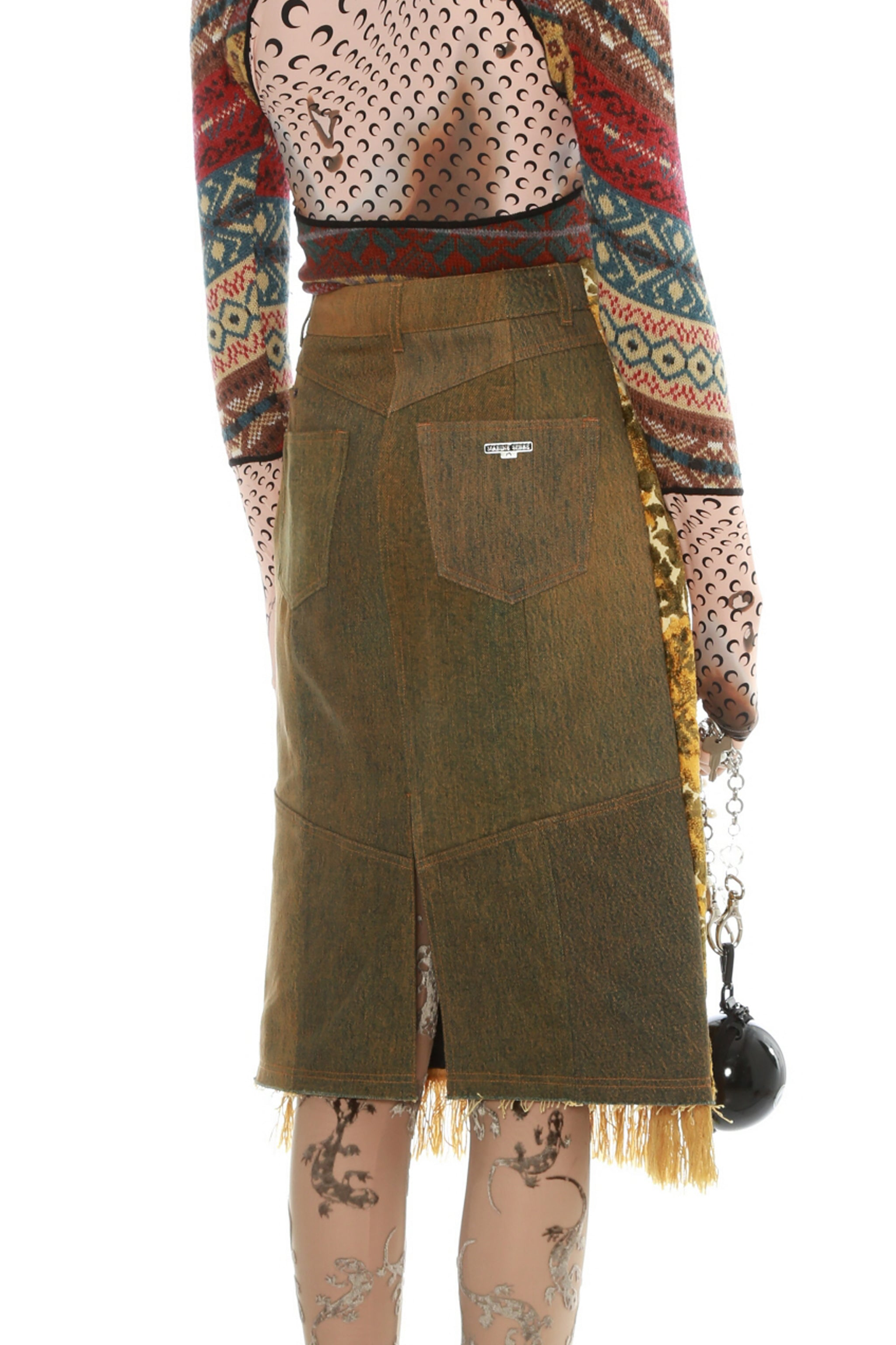 Regenerated Carpet Front Denim Skirt