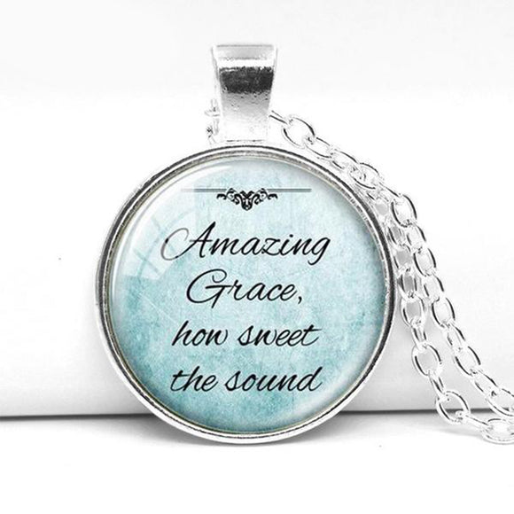 Necklace- Amazing Grace How Sweet the Sound- Blue